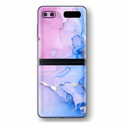 Samsung Galaxy Z Flip Print Printed Custom SIGNATURE AGATE GEODE Pink-Blue Skin Wrap Sticker Decal Cover Protector by EasySkinz