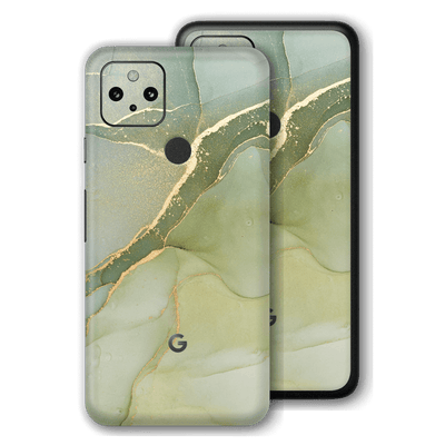 Google Pixel 4a 5G Print Printed Custom Signature Agate Geode Green-Gold Skin Wrap Decal by EasySkinz | EasySkinz.com