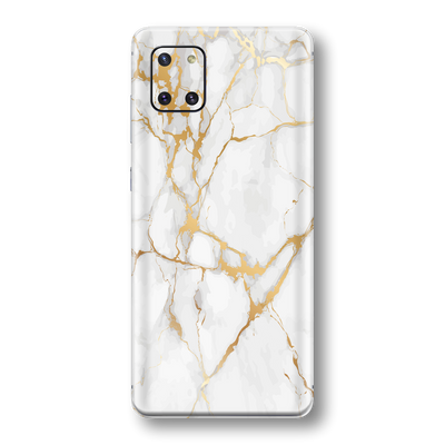 Samsung Galaxy NOTE 10 LITE Print Printed Custom SIGNATURE MARBLE - WHITE GOLD Skin Wrap Sticker Decal Cover Protector by EasySkinz