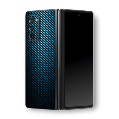 Samsung Galaxy Z Fold 2 Print Printed Custom Signature Blue Grid Carbon Abstract Skin Wrap Decal by EasySkinz