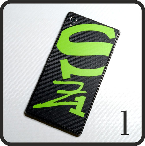 Sony Xperia Z1 carbon fibre and matt green skin design 1