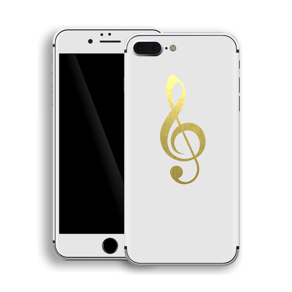 iPhone 8 Plus Music Symbol Custom Design Matt White Skin Wrap Decal Protector Cover | EasySkinz