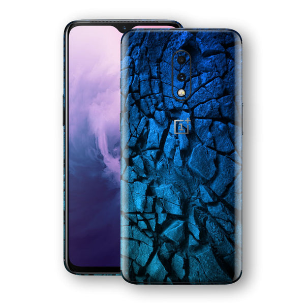 OnePlus 7 Print Custom Signature Charcoal BLUE Abstract Skin Wrap Decal by EasySkinz