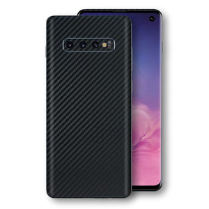 Samsung Galaxy S10 3D Textured Black Carbon Fibre Fiber Skin, Decal, Wrap, Protector, Cover by EasySkinz | EasySkinz.com