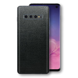 Samsung Galaxy S10 Luxuria BLACK Leather Skin Wrap Decal Protector | EasySkinz