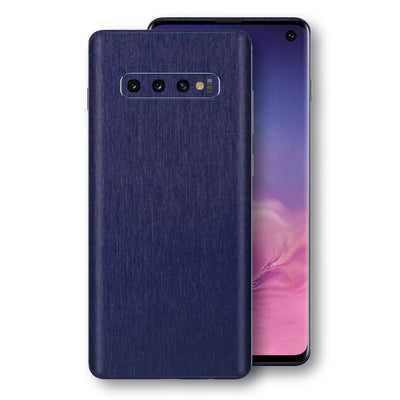 Samsung Galaxy S10 Brushed Blue Metallic Metal Skin, Decal, Wrap, Protector, Cover by EasySkinz | EasySkinz.com