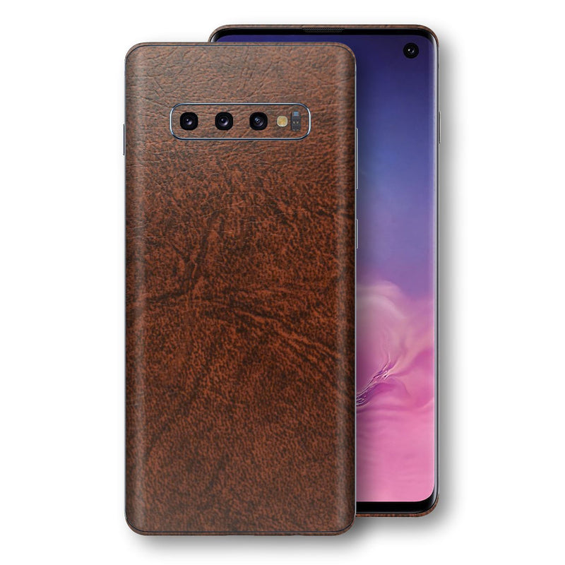 Samsung Galaxy S10 Luxuria BROWN Leather Skin Wrap Decal Protector | EasySkinz