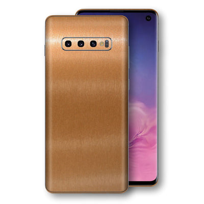Samsung Galaxy S10 Brushed Copper Metallic Metal Skin, Decal, Wrap, Protector, Cover by EasySkinz | EasySkinz.com