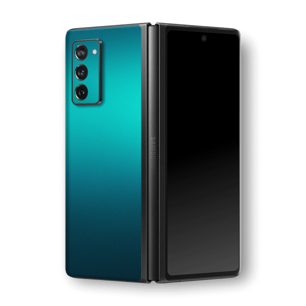Samsung Galaxy Z Fold 2 Glossy Atomic Teal Metallic Skin Wrap Sticker Decal Cover Protector by EasySkinz