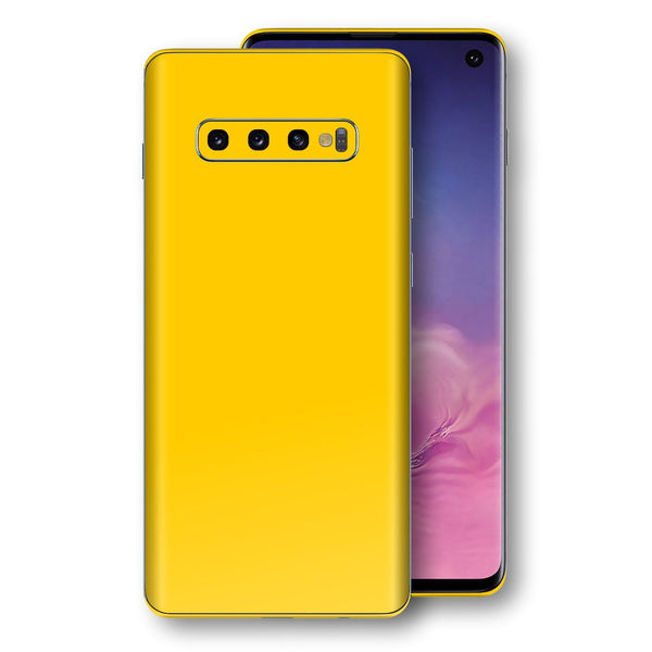 Samsung Galaxy S10 Golden Yellow Glossy Gloss Finish Skin, Decal, Wrap, Protector, Cover by EasySkinz | EasySkinz.com