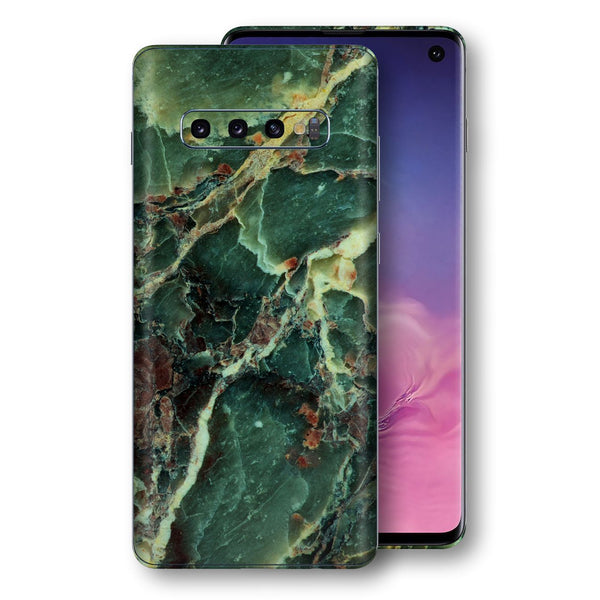 Samsung Galaxy S10 Print Custom Signature Marble GREEN Skin Wrap Decal by EasySkinz - Design 2