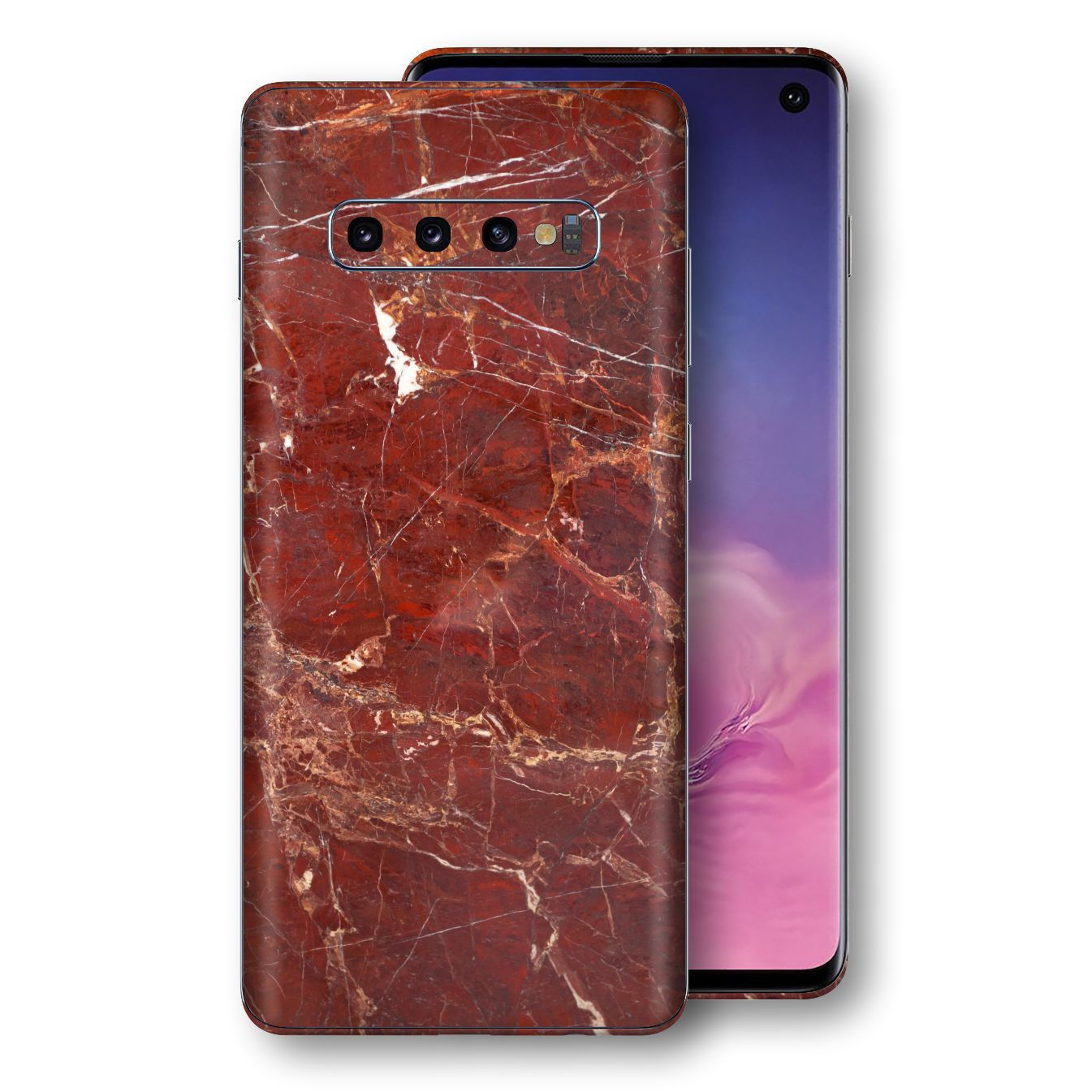 Samsung Galaxy S10 Print Custom Signature Marble RED Skin Wrap Decal by EasySkinz - Design 2