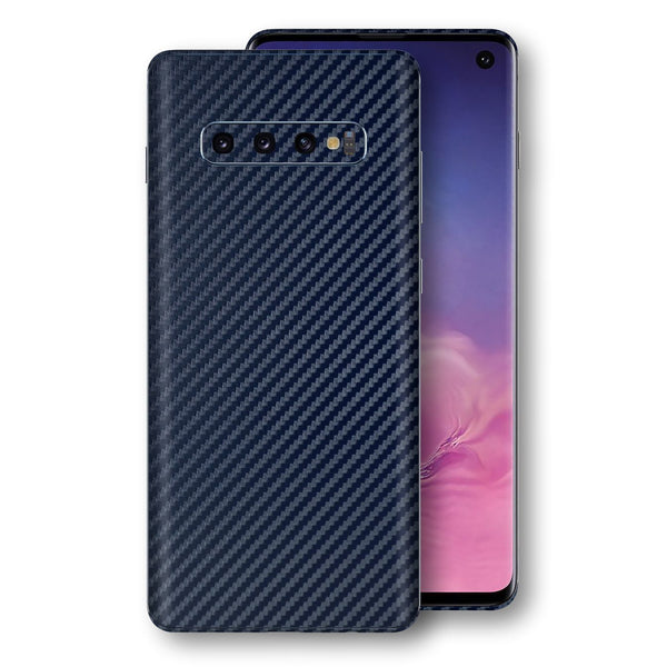 Samsung Galaxy S10 3D Textured Navy Blue Carbon Fibre Fiber Skin, Decal, Wrap, Protector, Cover by EasySkinz | EasySkinz.com
