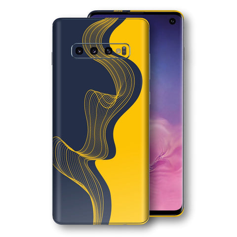 Samsung Galaxy S10 Print Custom Signature Navy Yellow Abstract Waves Skin Wrap Decal by EasySkinz