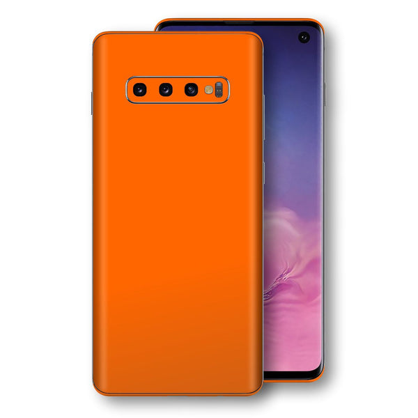 Samsung Galaxy S10 Orange Glossy Gloss Finish Skin, Decal, Wrap, Protector, Cover by EasySkinz | EasySkinz.com