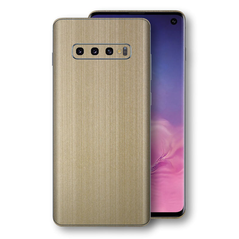 Samsung Galaxy S10 Premium Brushed Champagne Gold Metallic Metal Skin, Decal, Wrap, Protector, Cover by EasySkinz | EasySkinz.com
