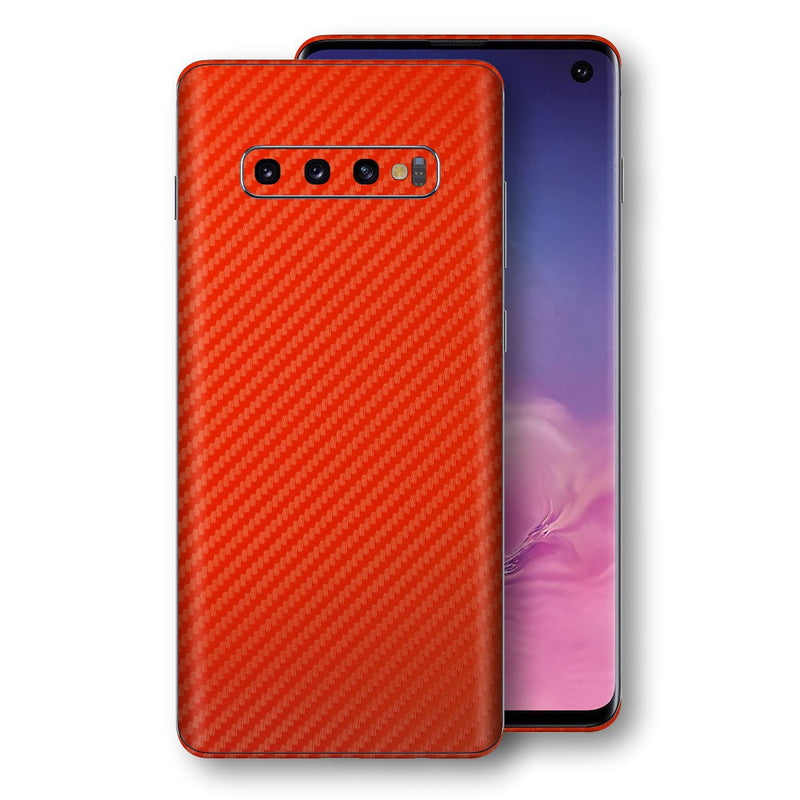 Samsung Galaxy S10 3D Textured Red Carbon Fibre Fiber Skin, Decal, Wrap, Protector, Cover by EasySkinz | EasySkinz.com