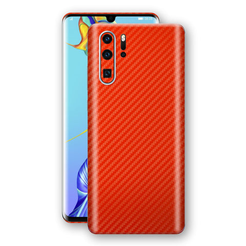 Huawei P30 PRO 3D Textured Red Carbon Fibre Fiber Skin, Decal, Wrap, Protector, Cover by EasySkinz | EasySkinz.com