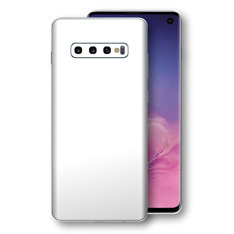 Samsung Galaxy S10 White Glossy Gloss Finish Skin, Decal, Wrap, Protector, Cover by EasySkinz | EasySkinz.com