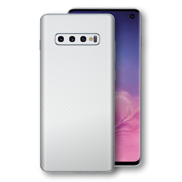Samsung Galaxy S10 3D Textured White Carbon Fibre Fiber Skin, Decal, Wrap, Protector, Cover by EasySkinz | EasySkinz.com
