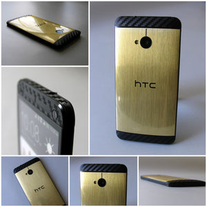 HTC ONE M7 Brushed GOLD / SILVER & 3D Carbon Skin
