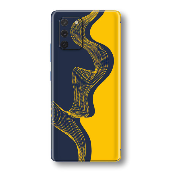 Samsung Galaxy S10 LITE Print Printed Custom SIGNATURE NAVY-YELLOW Waves Skin Wrap Sticker Decal Cover Protector by EasySkinz