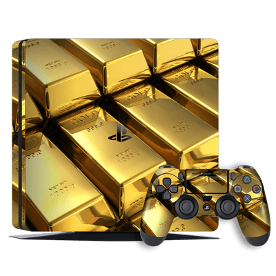 Playstation 4 SLIM PS4 Signature 24K Gold Skin Wrap Decal by EasySkinz
