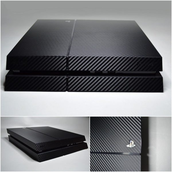 Playstation 4 (PS4) 3D Textured BLACK CARBON Fibre Wrap Decal Skin