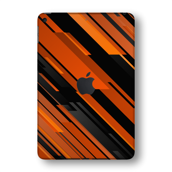 iPad MINI 5 (5th Generation 2019) SIGNATURE Black-Orange Stripes Skin Wrap Sticker Decal Cover Protector by EasySkinz