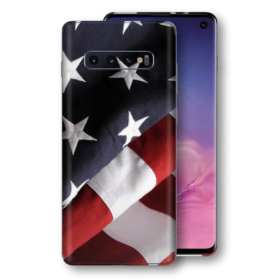 Samsung Galaxy S10 Print Custom Signature USA United States Of America Flag Skin Wrap Decal by EasySkinz - Design 2