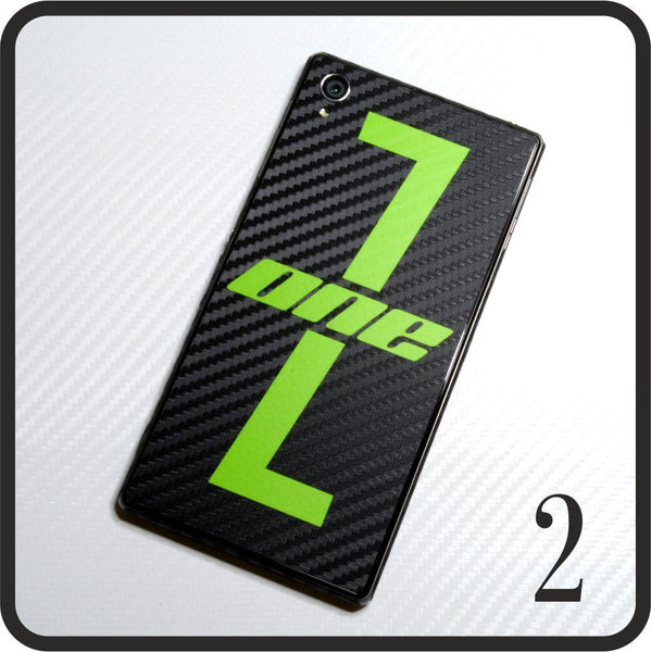 Sony Xperia Z1 carbon fibre and matt green skin design 2