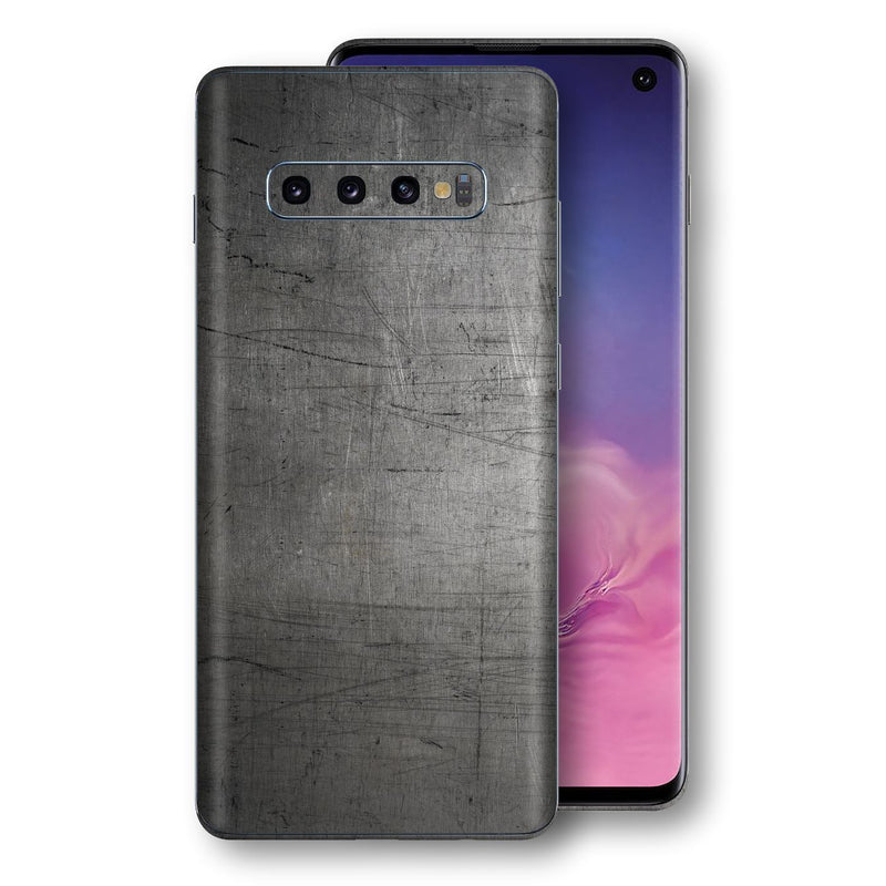 Samsung Galaxy S10 Print Custom Signature Industrial Scratched Worn Metal Skin Wrap Decal by EasySkinz