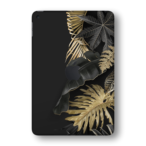 iPad MINI 5 (5th Generation 2019) SIGNATURE Black-Gold Tropical Leaves V3 Skin Wrap Sticker Decal Cover Protector by EasySkinz