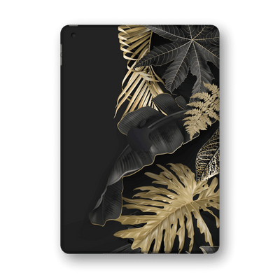 "iPad 10.2"" (8th Gen, 2020) SIGNATURE Black-Gold Tropical Leaves V3 Skin Wrap Sticker Decal Cover Protector by EasySkinz"