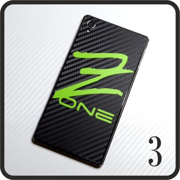 Sony Xperia Z1 carbon fibre and matt green skin design 3