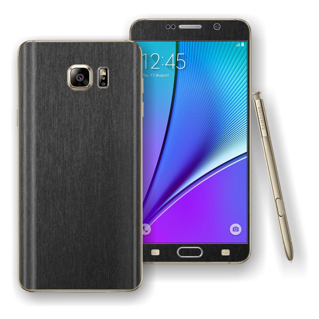 Samsung Galaxy NOTE 5 3M Brushed Black Metallic Skin Wrap Decal Cover Protector by EasySkinz