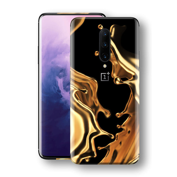 OnePlus 7T PRO Print Custom SIGNATURE LIQUID Gold Skin, Wrap, Decal, Protector, Cover by EasySkinz | EasySkinz.com