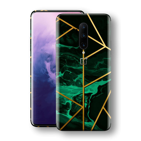OnePlus 7T PRO Print Custom SIGNATURE Liquid Green-Gold Geometric Skin, Wrap, Decal, Protector, Cover by EasySkinz | EasySkinz.com