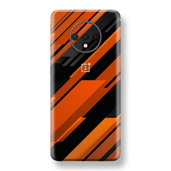 OnePlus 7T Print Custom SIGNATURE Black-Orange Stripes Skin, Wrap, Decal, Protector, Cover by EasySkinz | EasySkinz.com