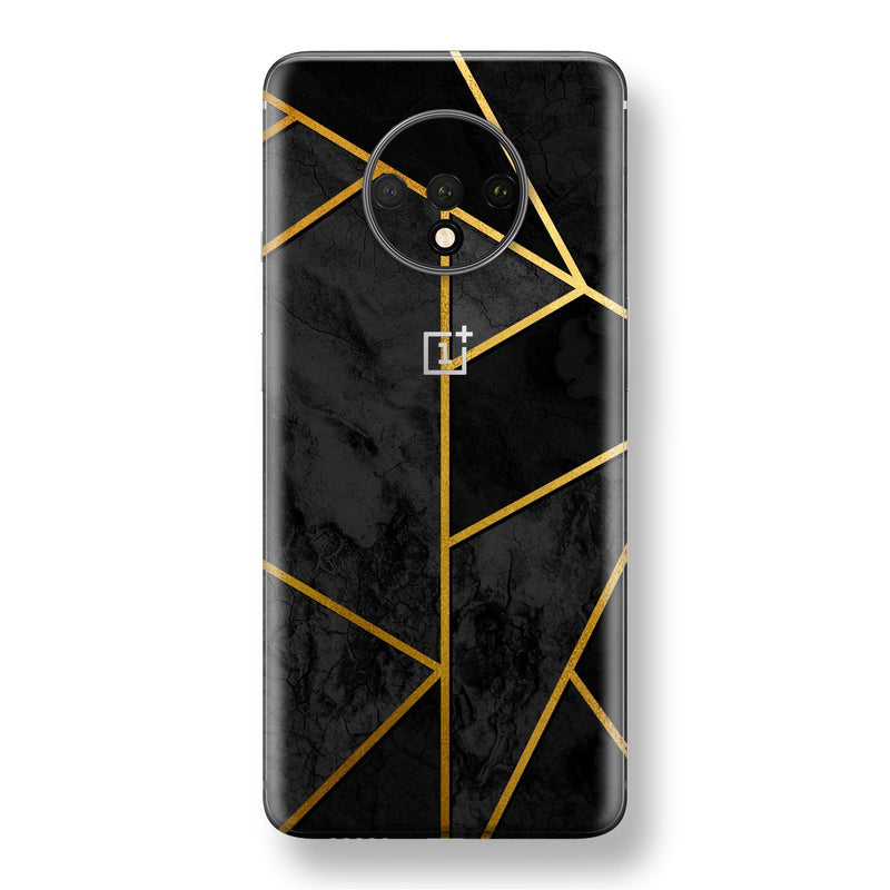 OnePlus 7T Print Custom SIGNATURE Black-Gold Geometric Skin, Wrap, Decal, Protector, Cover by EasySkinz | EasySkinz.com