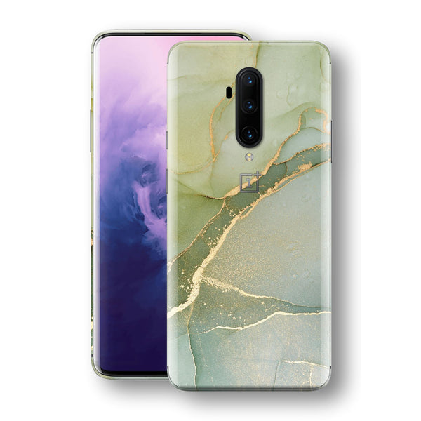 OnePlus 7T PRO Print Custom SIGNATURE AGATE GEODE Green-Gold Skin, Wrap, Decal, Protector, Cover by EasySkinz | EasySkinz.com
