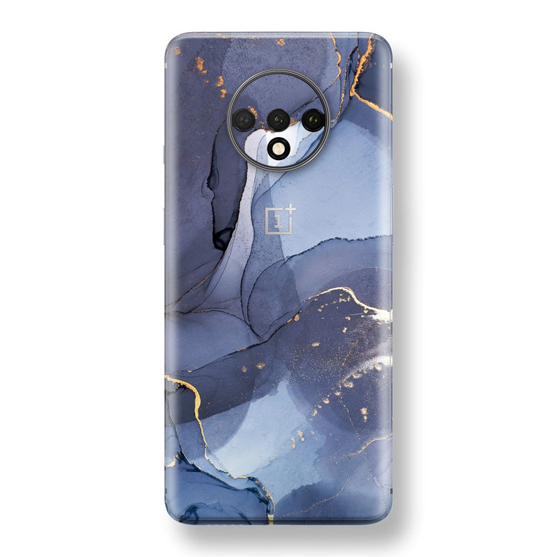 OnePlus 7T Print Custom SIGNATURE AGATE GEODE Pigeon Blue-Gold Skin, Wrap, Decal, Protector, Cover by EasySkinz | EasySkinz.com