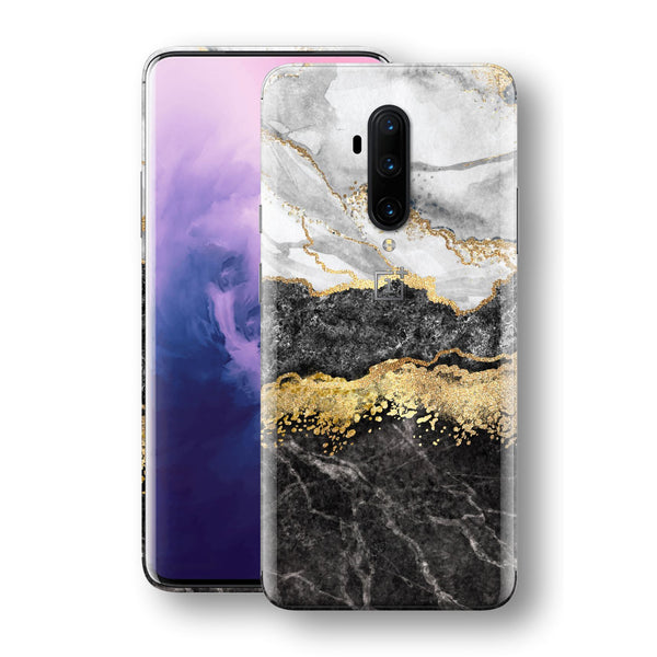 OnePlus 7T PRO Print Custom SIGNATURE Golden White-Slate Marble Skin, Wrap, Decal, Protector, Cover by EasySkinz | EasySkinz.com