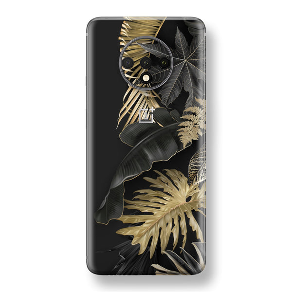 OnePlus 7T Print Custom SIGNATURE Black-Gold Tropical Leaves V3 Skin, Wrap, Decal, Protector, Cover by EasySkinz | EasySkinz.com