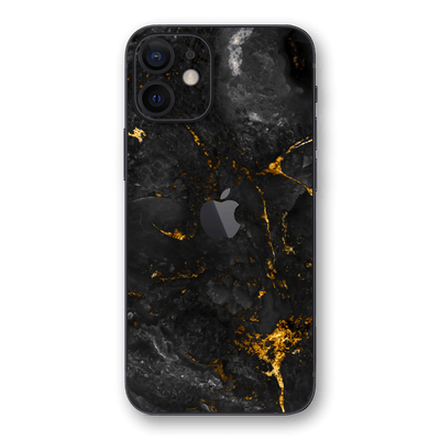 iPhone 12 mini SIGNATURE Black-Gold MARBLE Skin, Wrap, Decal, Protector, Cover by EasySkinz | EasySkinz.com