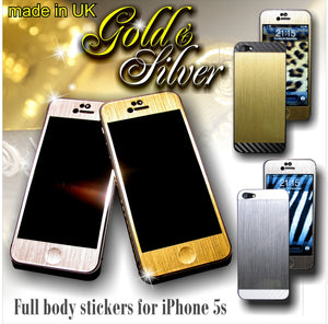 Brushed Metal GOLD & SILVER with CARBON Skin for iPhone 4 4S 5 5S