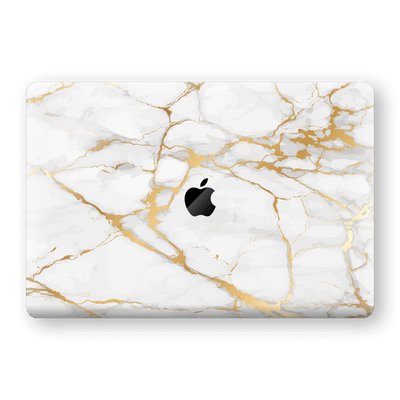 "MacBook Pro 15"" Touch Bar Print Custom Signature Marble White Gold Skin Wrap Decal by EasySkinz - Design 2"