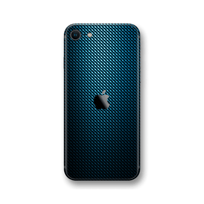iPhone SE (2020) Print Custom Signature Blue Grid Carbon Abstract Skin Wrap Decal by EasySkinz