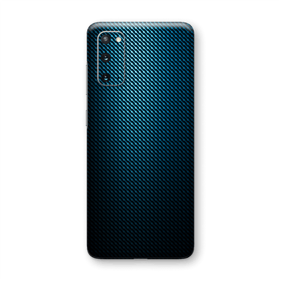 Samsung Galaxy S20 Print Custom Signature Blue Grid Carbon Abstract Skin Wrap Decal by EasySkinz