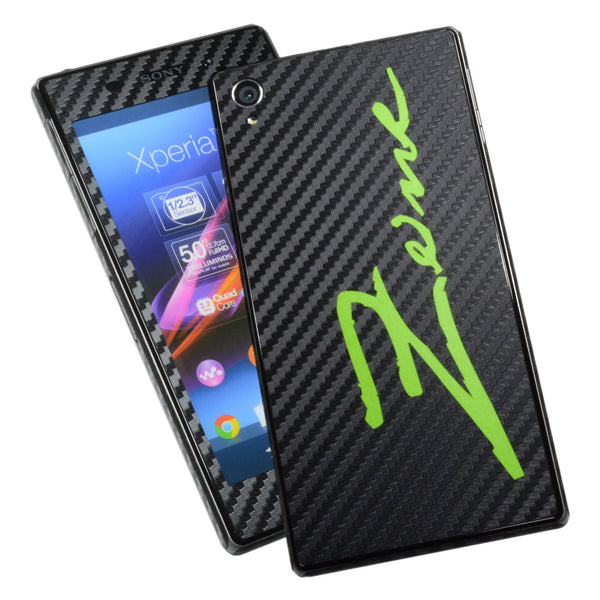 Sony Xperia Z1 carbon fibre and matt green skin
